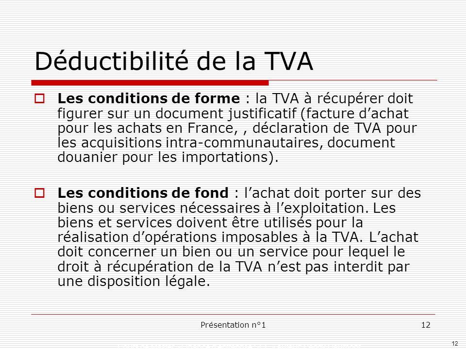 Déductibilité de la TVA