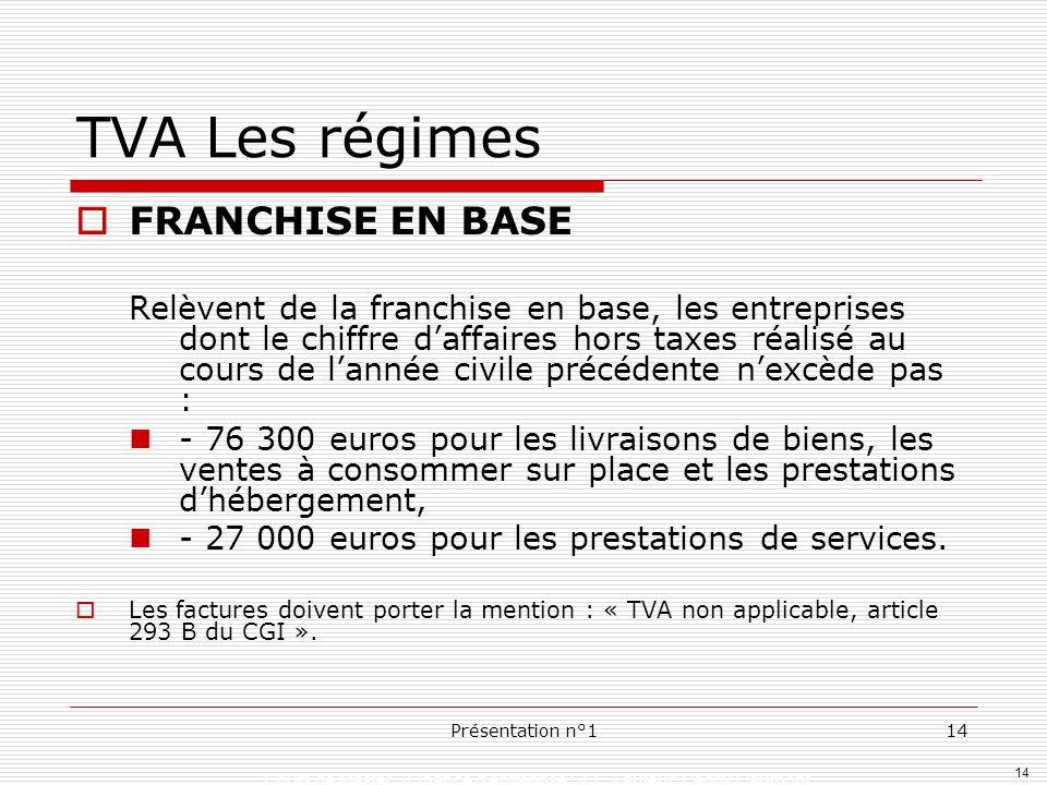 TVA Les régimes FRANCHISE EN BASE