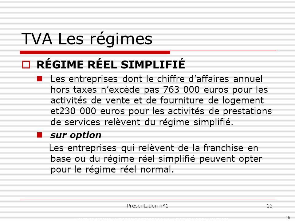 TVA Les régimes RÉGIME RÉEL SIMPLIFIÉ