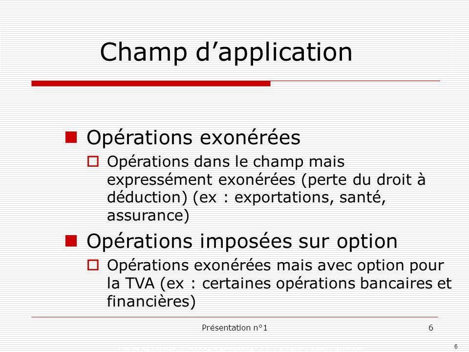 Champ d'application Opérations exonérées