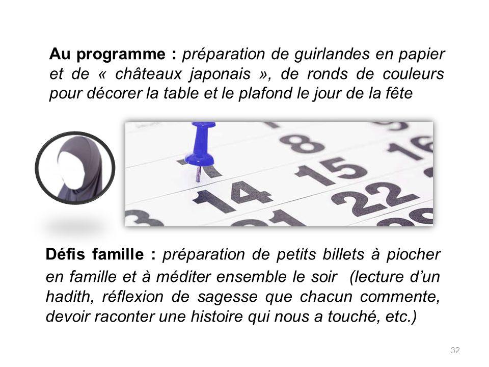Au programme : préparation de guirlandes en papier et de « châteaux japonais », de ronds de couleurs pour décorer la table et le plafond le jour de la fête