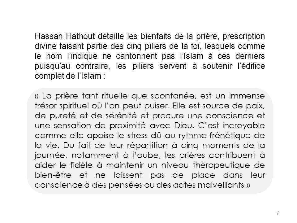 Hassan Hathout détaille les bienfaits de la prière, prescription divine faisant partie des cinq piliers de la foi, lesquels comme le nom l'indique ne cantonnent pas l'Islam à ces derniers puisqu'au contraire, les piliers servent à soutenir l'édifice complet de l'Islam :