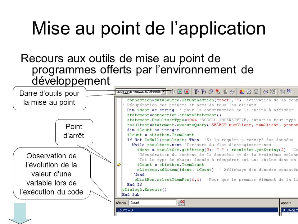 Mise au point de l'application
