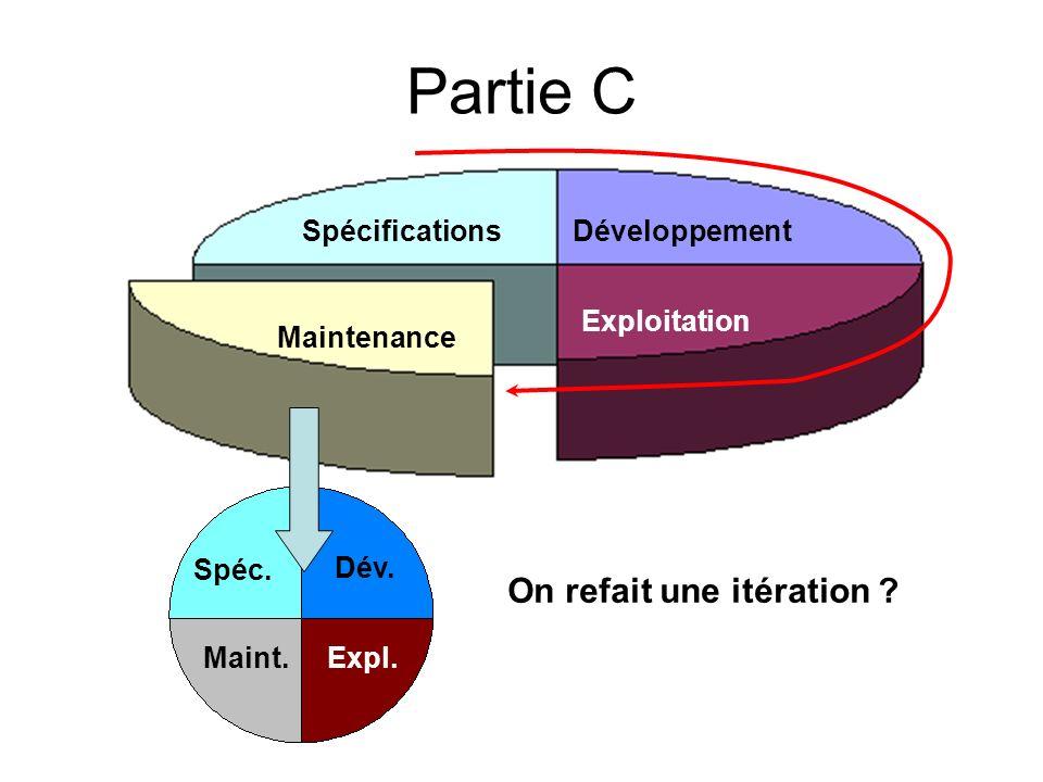 Partie C On refait une itération Spécifications Développement