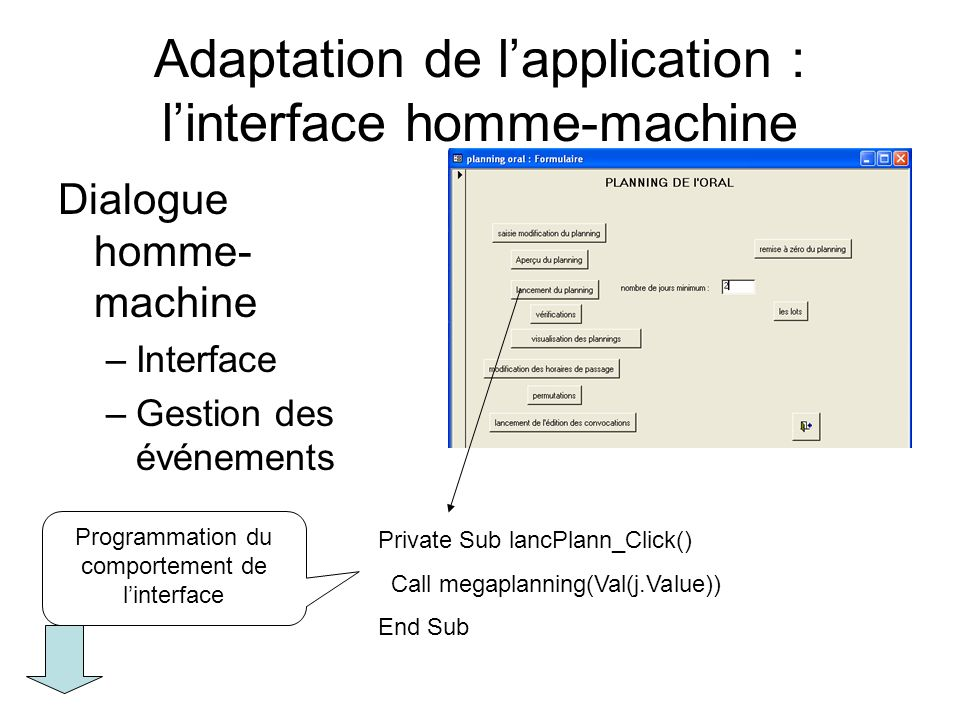 Adaptation de l'application : l'interface homme-machine
