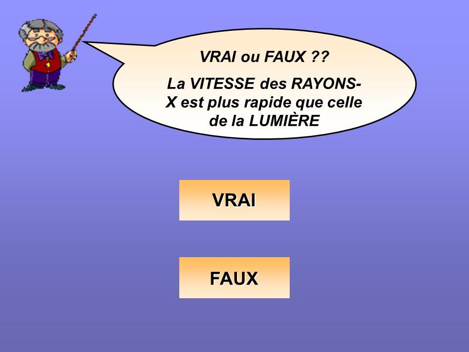 La VITESSE des RAYONS-X est plus rapide que celle de la LUMIÈRE