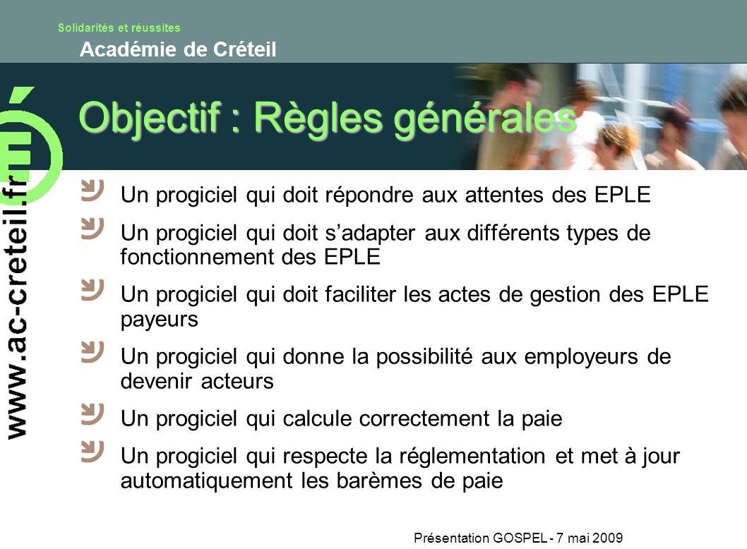Objectif : Règles générales