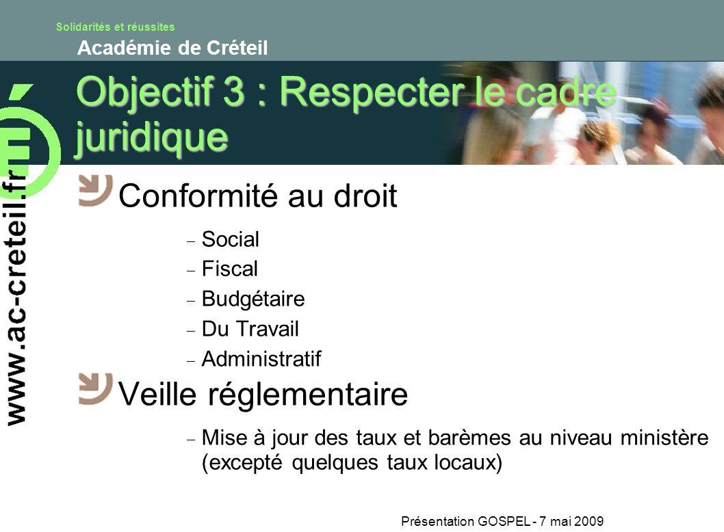 Objectif 3 : Respecter le cadre juridique