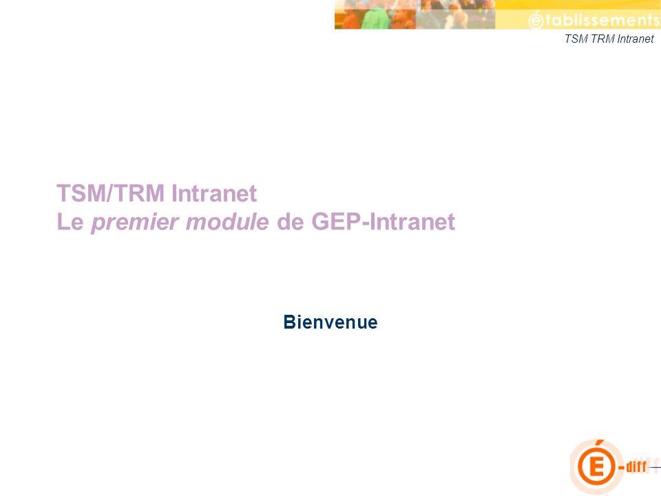 TSM/TRM Intranet Le premier module de GEP-Intranet