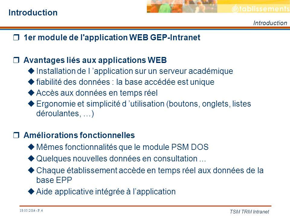 Introduction 1er module de l application WEB GEP-Intranet