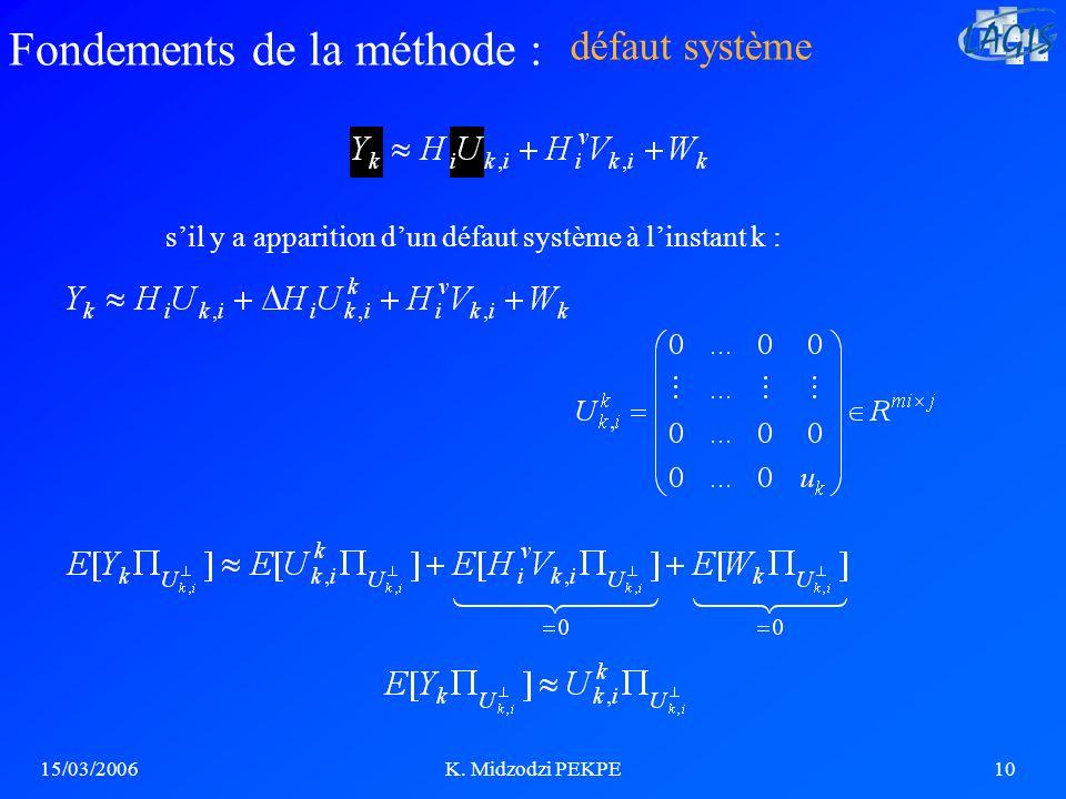 s'il y a apparition d'un défaut système à l'instant k :