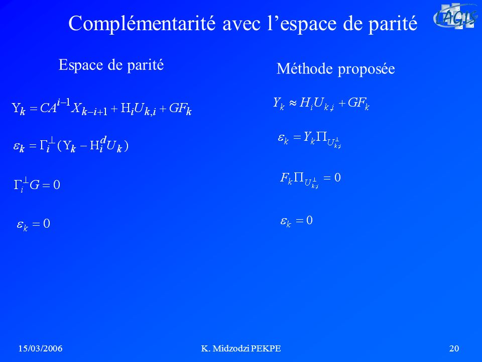 Complémentarité avec l'espace de parité