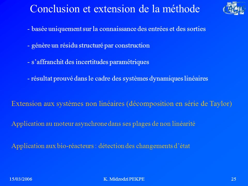Conclusion et extension de la méthode