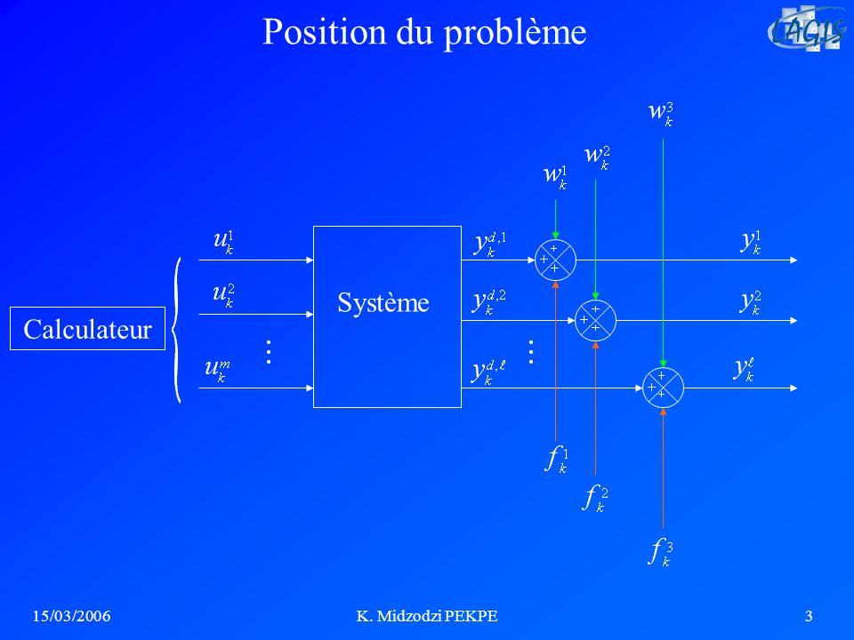Position du problème Système Calculateur 15/03/2006 K. Midzodzi PEKPE