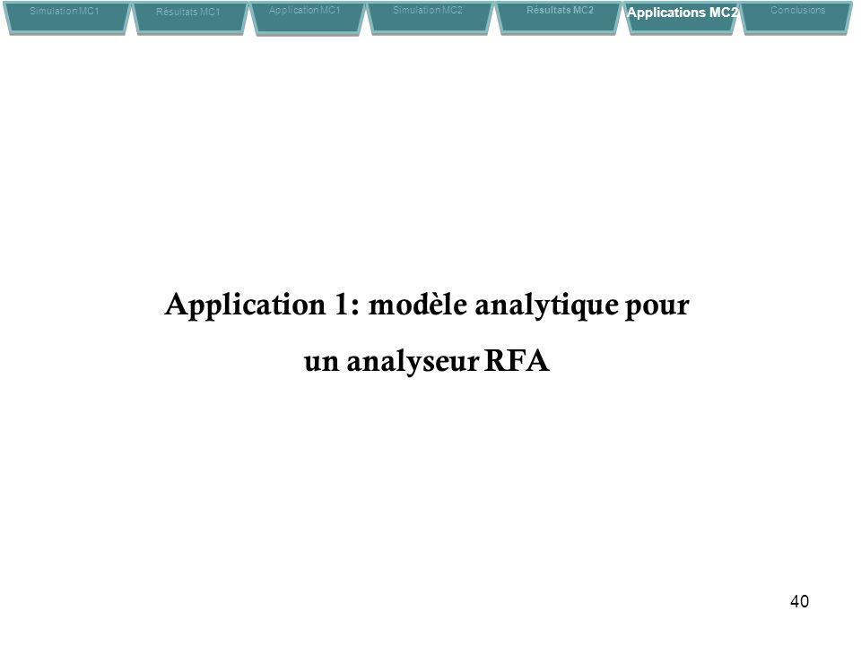 Application 1: modèle analytique pour