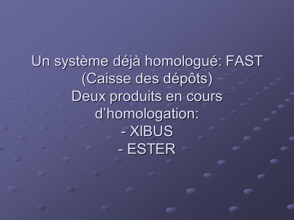Un système déjà homologué: FAST (Caisse des dépôts) Deux produits en cours d'homologation: - XIBUS - ESTER