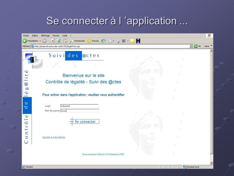 Se connecter à l 'application ...