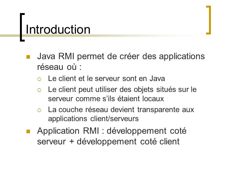 Introduction Java RMI permet de créer des applications réseau où :