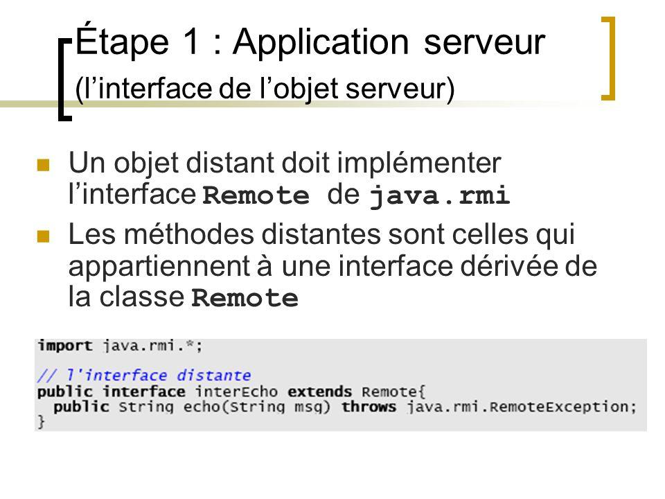Étape 1 : Application serveur (l'interface de l'objet serveur)