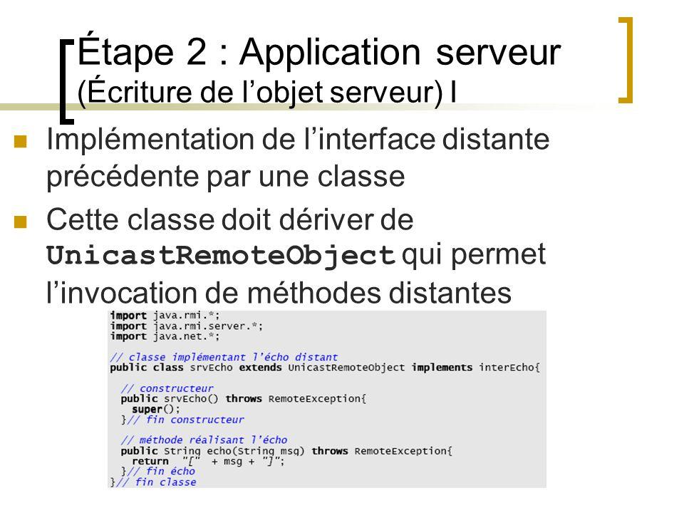 Étape 2 : Application serveur (Écriture de l'objet serveur) I