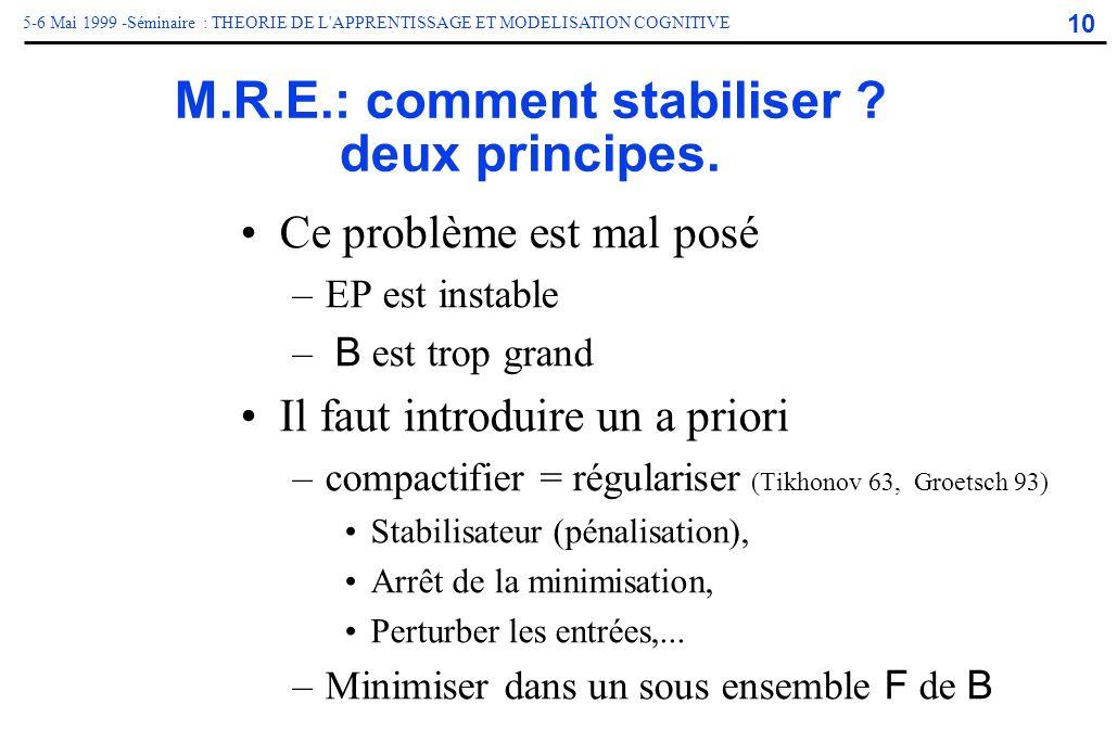 M.R.E.: comment stabiliser deux principes.