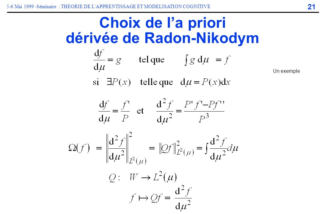Choix de l'a priori dérivée de Radon-Nikodym