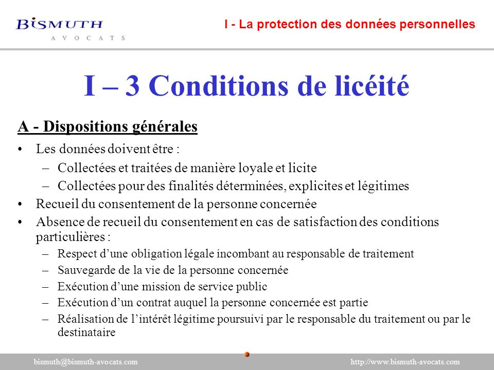 I – 3 Conditions de licéité