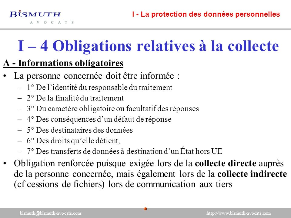 I – 4 Obligations relatives à la collecte
