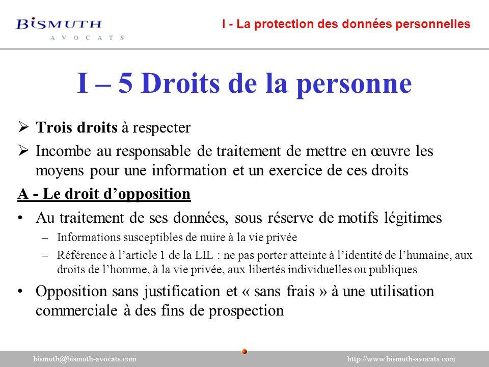 I – 5 Droits de la personne
