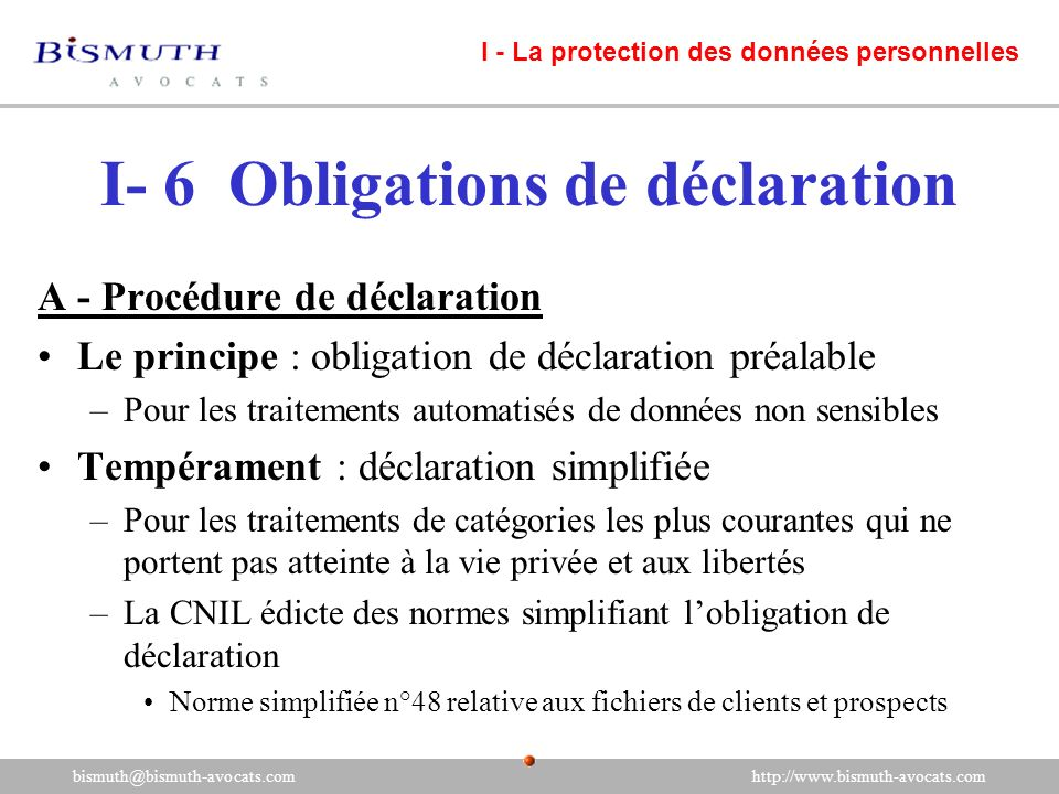 I- 6 Obligations de déclaration