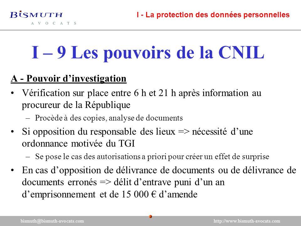 I – 9 Les pouvoirs de la CNIL
