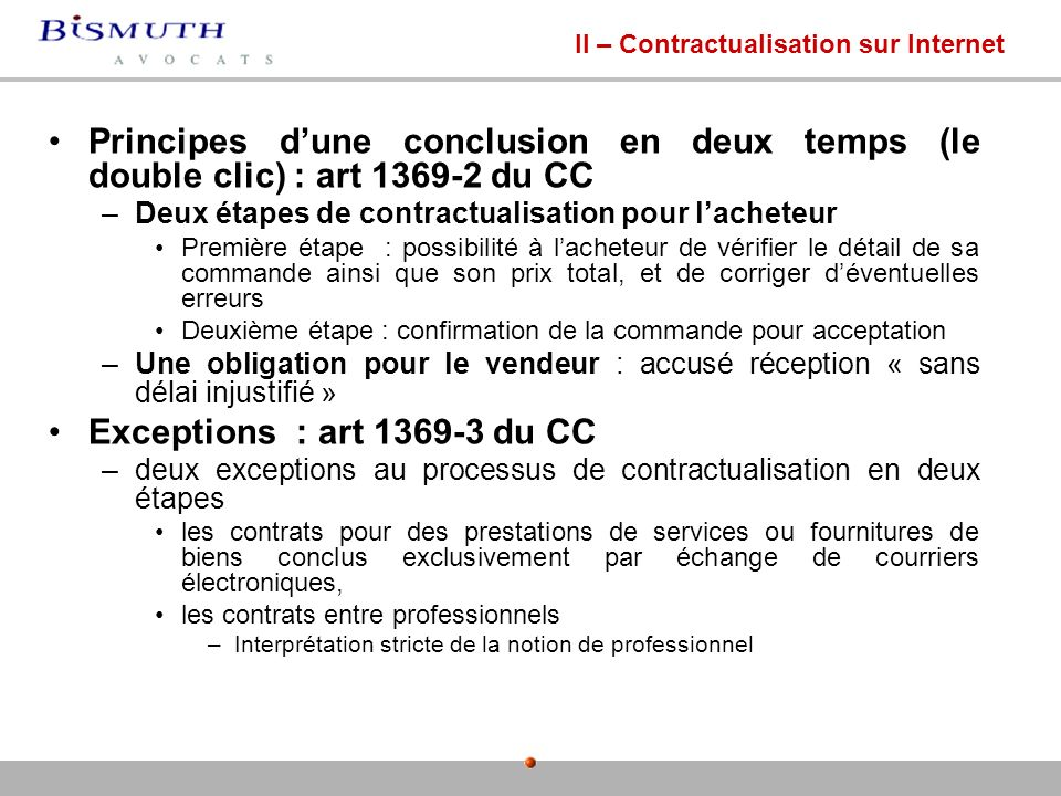 II – Contractualisation sur Internet