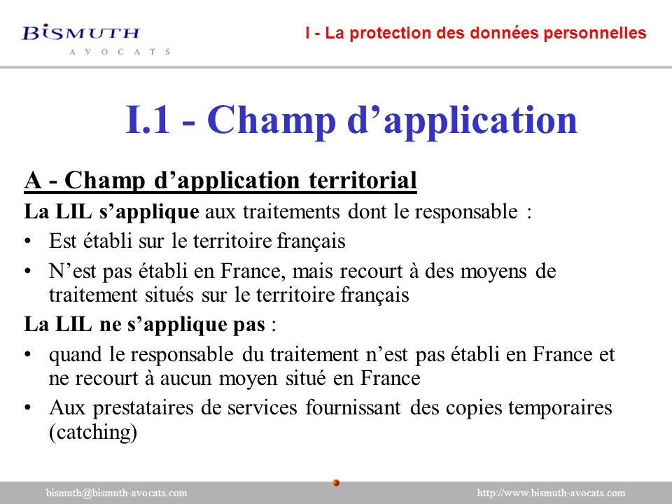 I.1 - Champ d'application