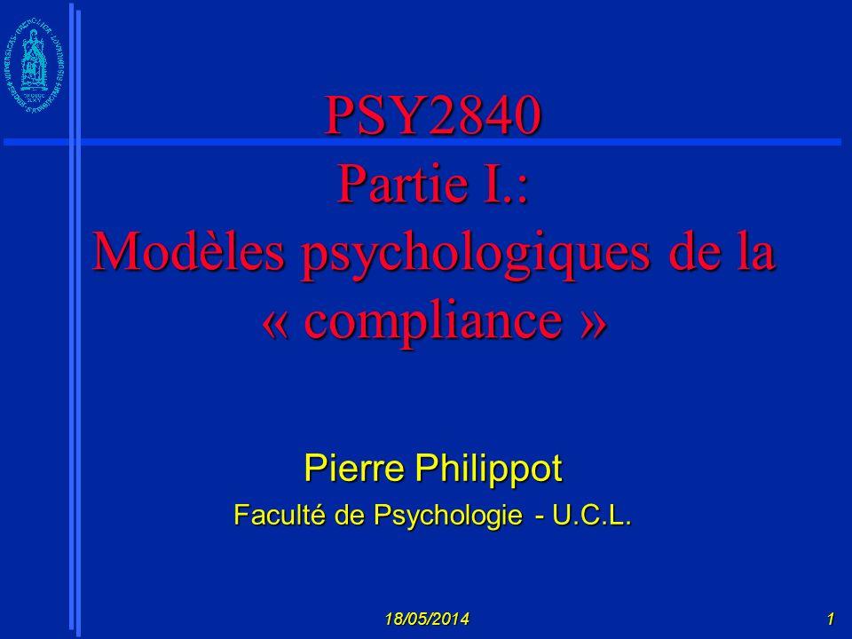 PSY2840 Partie I.: Modèles psychologiques de la « compliance »