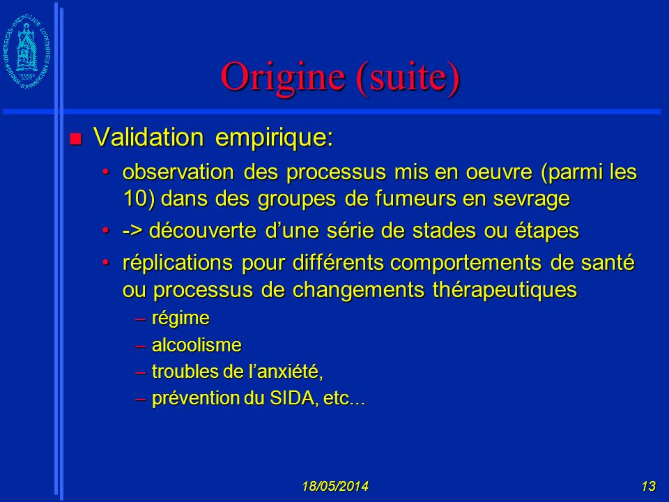 Origine (suite) Validation empirique: