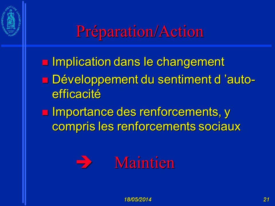 Préparation/Action  Maintien Implication dans le changement