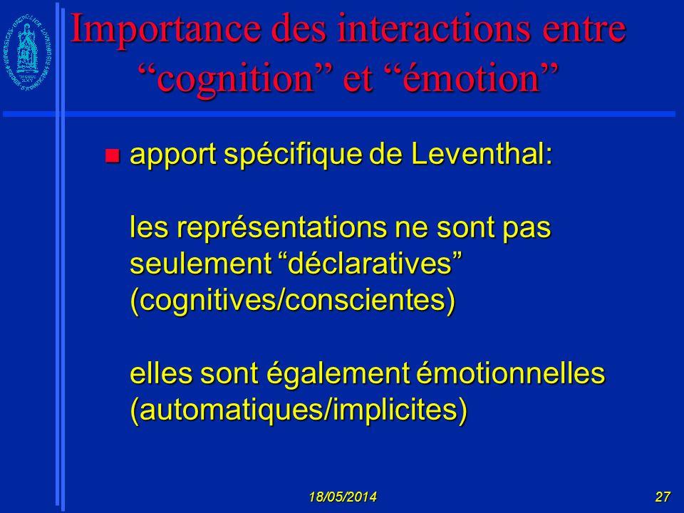 Importance des interactions entre cognition et émotion