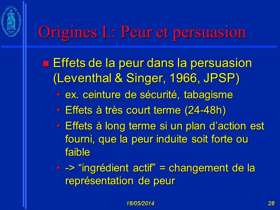 Origines I.: Peur et persuasion