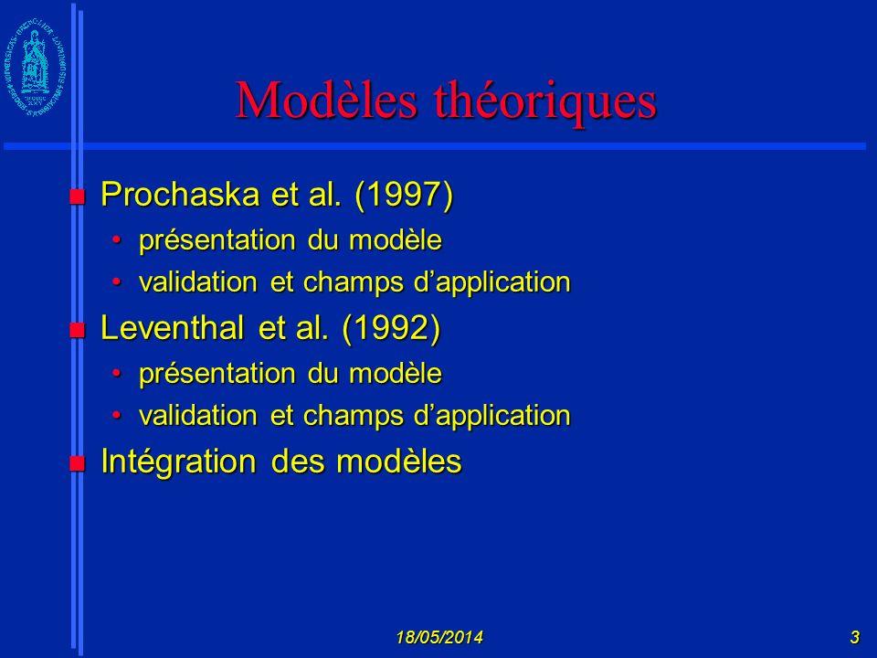 Modèles théoriques Prochaska et al. (1997) Leventhal et al. (1992)