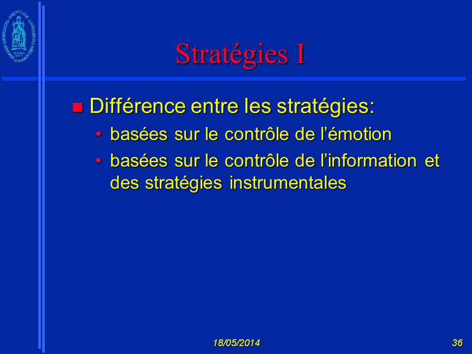 Stratégies I Différence entre les stratégies:
