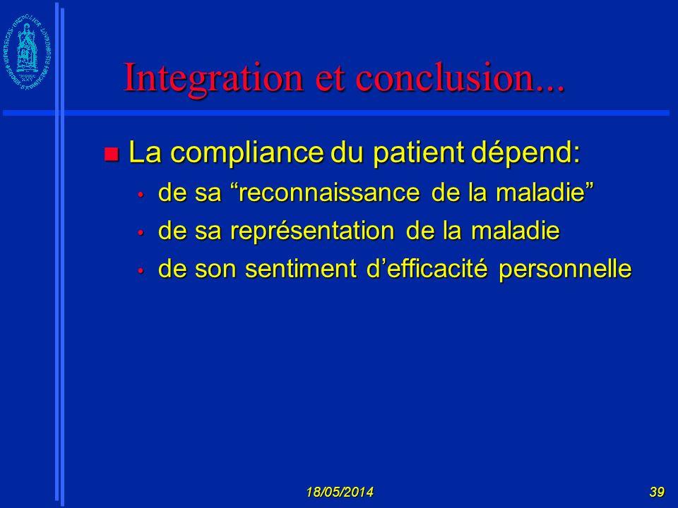 Integration et conclusion...