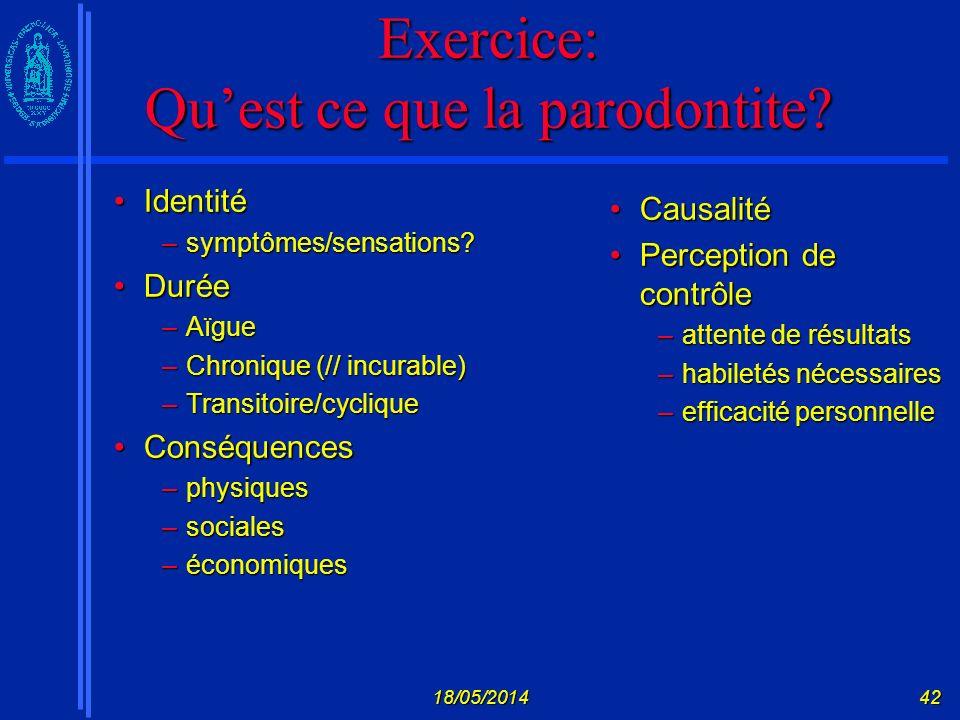 Exercice: Qu'est ce que la parodontite