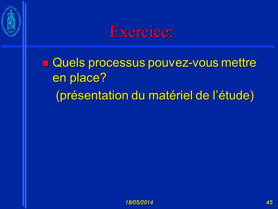 Exercice: Quels processus pouvez-vous mettre en place