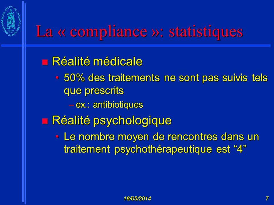 La « compliance »: statistiques