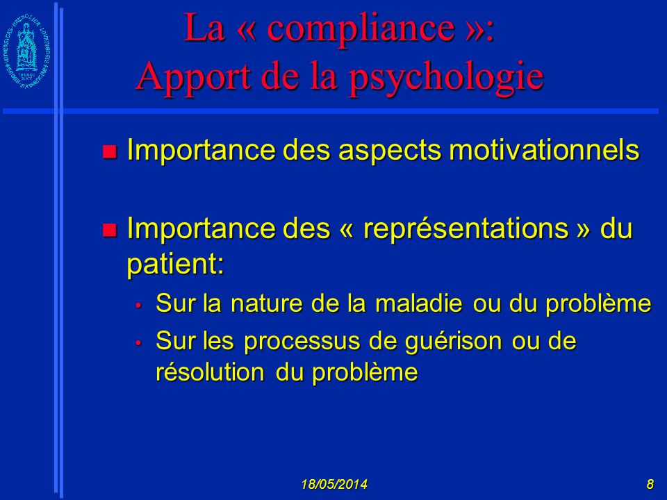 La « compliance »: Apport de la psychologie