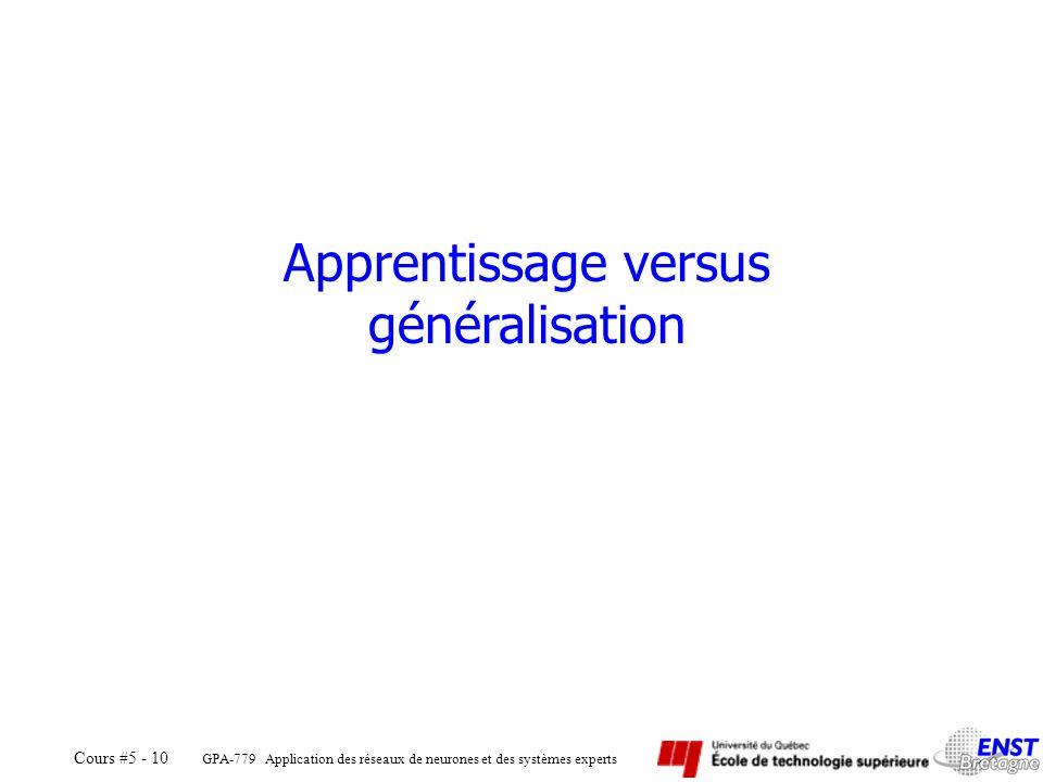 Apprentissage versus généralisation