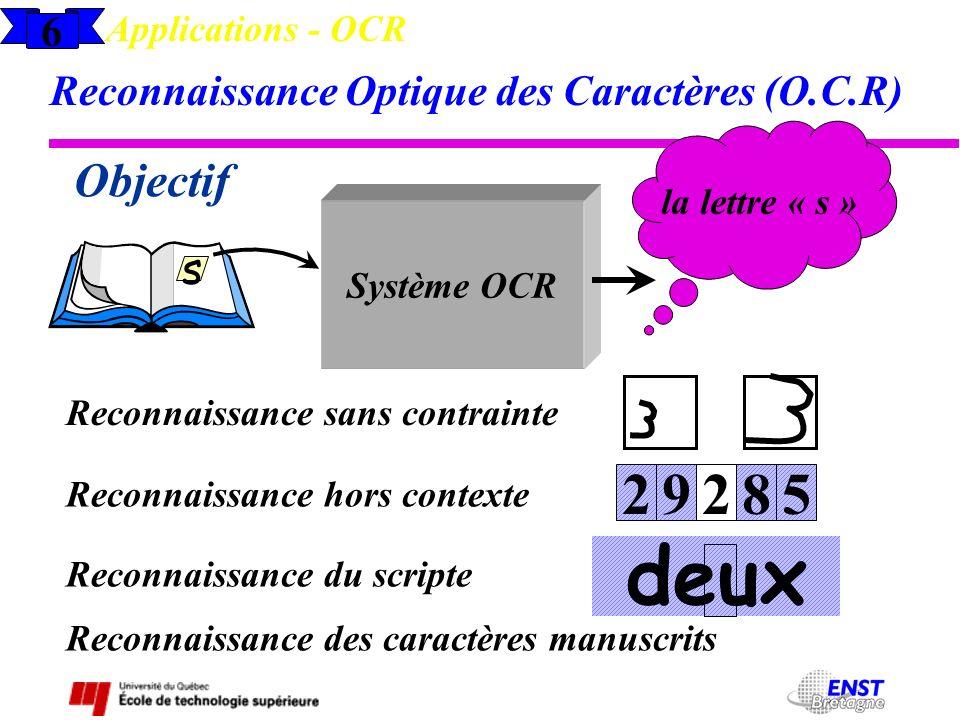 Applications - OCR 6. Reconnaissance Optique des Caractères (O.C.R) la lettre « s » Objectif. Système OCR.