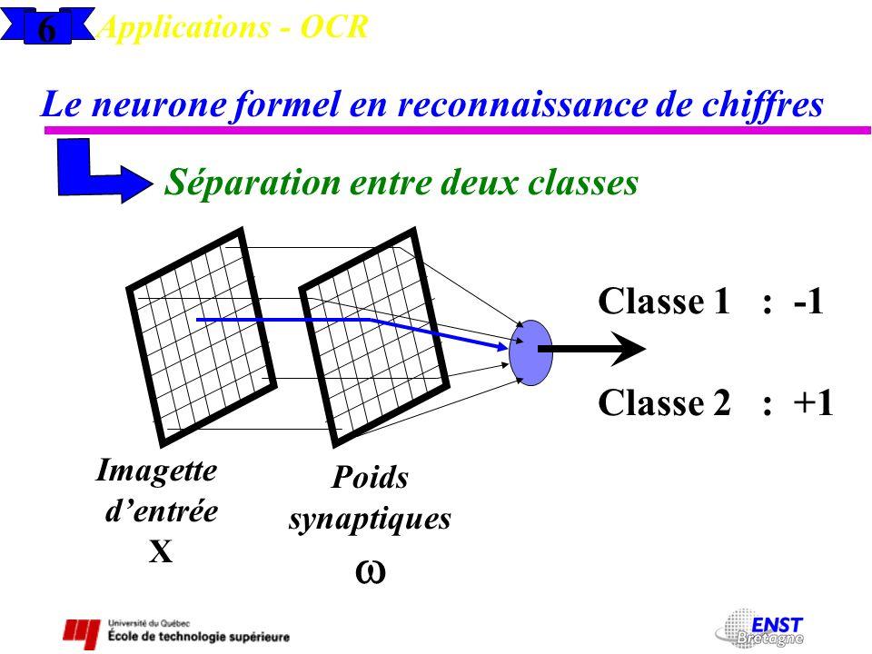 w 6 Le neurone formel en reconnaissance de chiffres