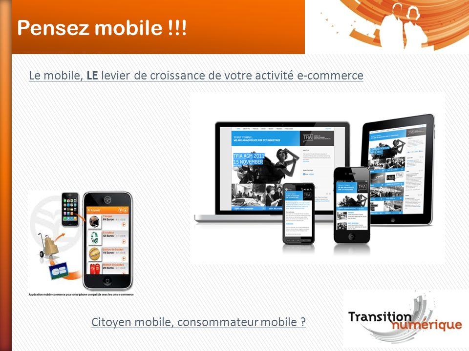 Pensez mobile !!. Le mobile, LE levier de croissance de votre activité e-commerce.