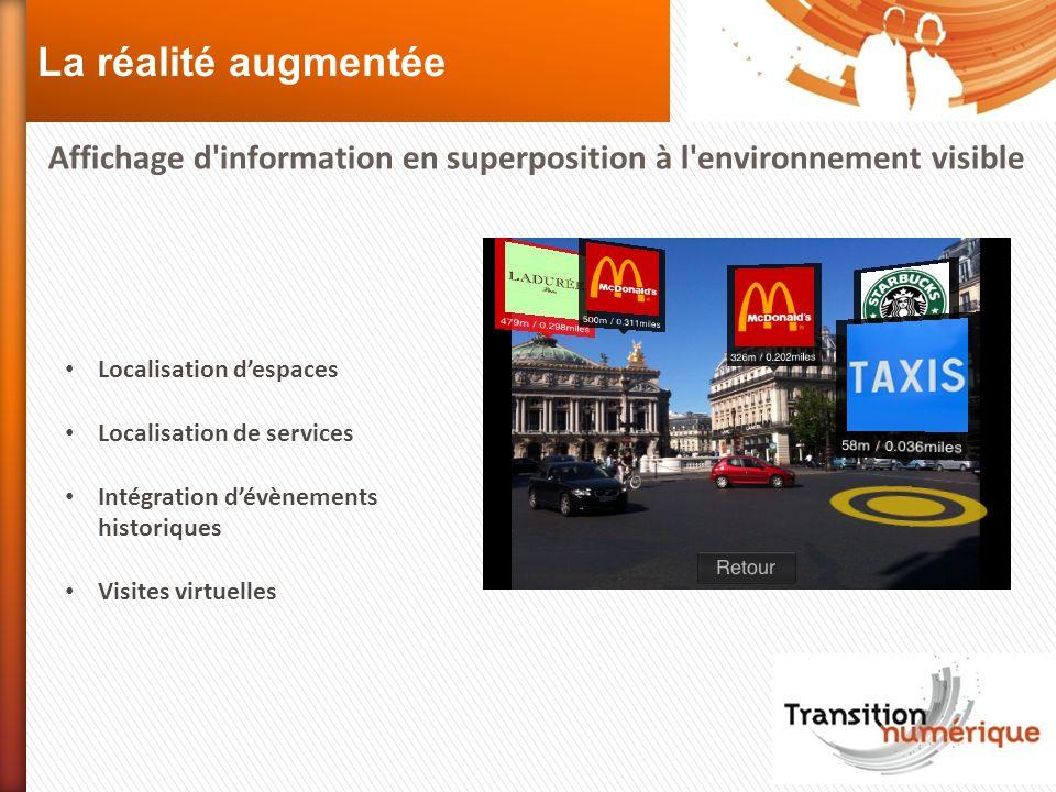 La réalité augmentée Affichage d information en superposition à l environnement visible. Localisation d'espaces.